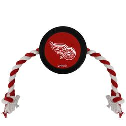 Detroit Red Wings NHL Pets First Pet Hockey Puck Dog Rope To