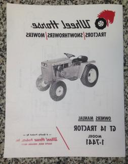 Wheel Horse GT 14 Lawn Tractor Owner Operators Manual Book