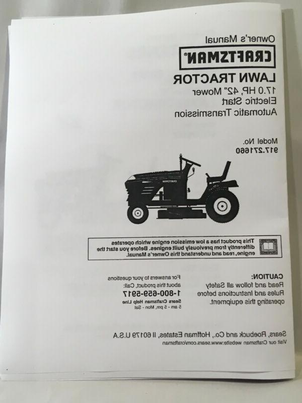 owners manual sears 17 hp lawn tractor