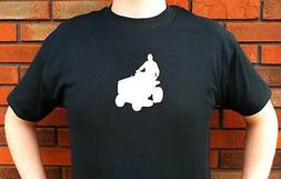 MAN ON RIDING MOWER LAWN TRACTOR GRASS GRAPHIC T-SHIRT TEE F