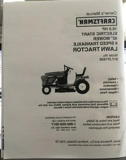 Owner's Manual Sears Craftsman 16.5 HP Lawn Tractor 42""