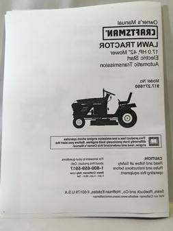 """Owner's Manual Sears Craftsman 17 HP Lawn Tractor 42"""" Mo"""