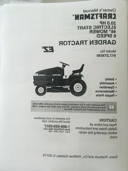 Owner's Manual Sears Craftsman 20 HP 6-Speed Lawn Tractor-